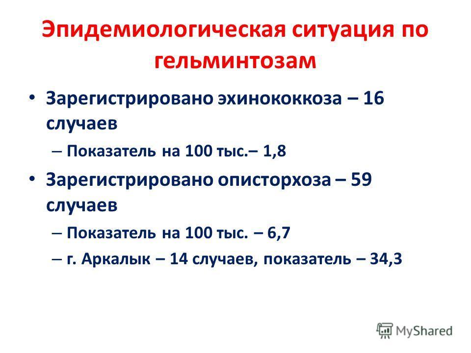 Эпидемиологическая ситуация по гельминтозам Зарегистрировано эхинококкоза – 16 случаев – Показатель на 100 тыс.– 1,8 Зарегистрировано описторхоза – 59 случаев – Показатель на 100 тыс. – 6,7 – г. Аркалык – 14 случаев, показатель – 34,3