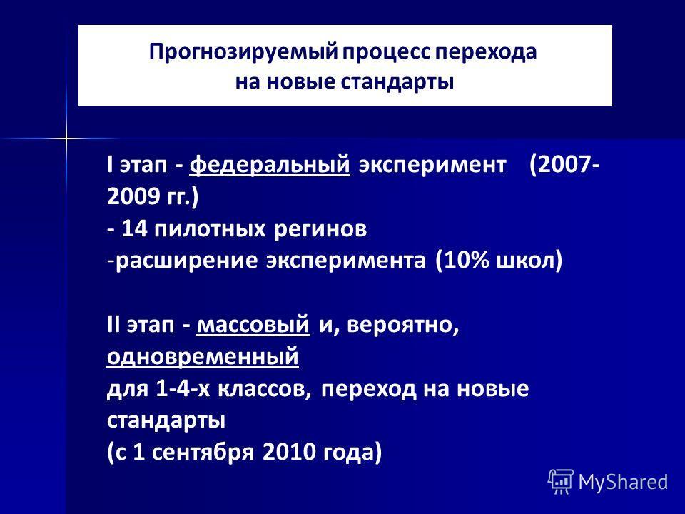 Прогнозируемый процесс перехода на новые стандарты I этап - федеральный эксперимент (2007- 2009 гг.) - 14 пилотных регинов -расширение эксперимента (10% школ) II этап - массовый и, вероятно, одновременный для 1-4-х классов, переход на новые стандарты