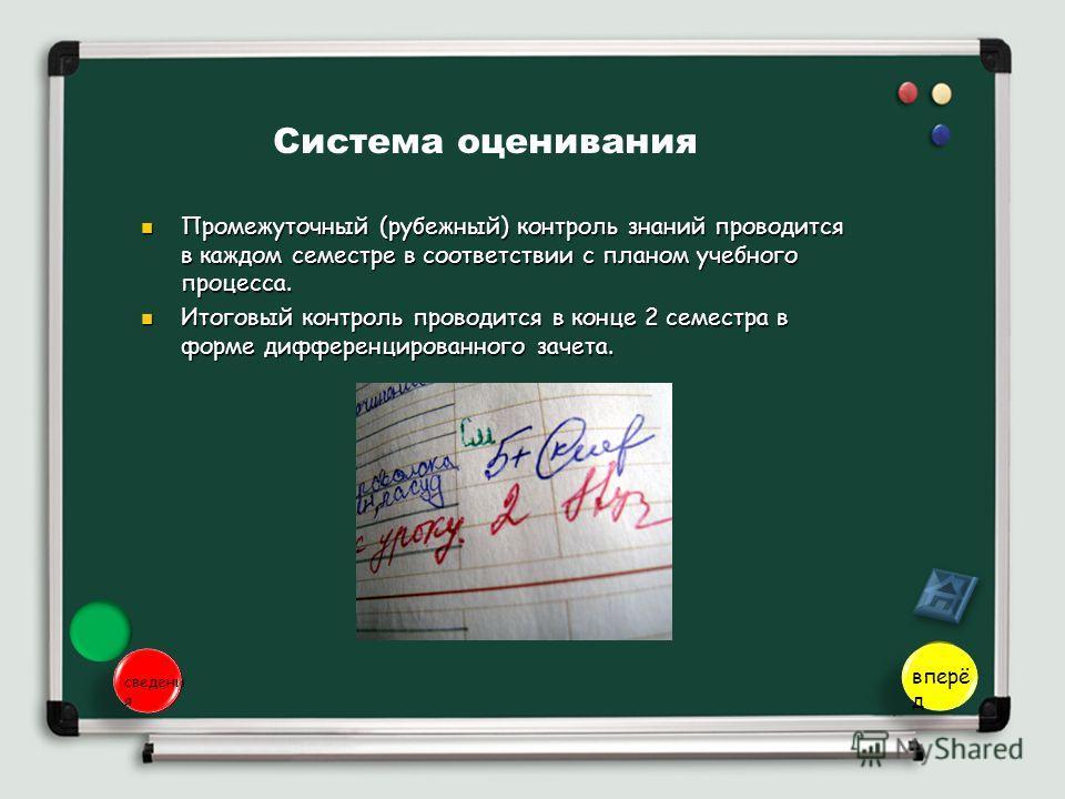 Система оценивания Промежуточный (рубежный) контроль знаний проводится в каждом семестре в соответствии с планом учебного процесса. Промежуточный (рубежный) контроль знаний проводится в каждом семестре в соответствии с планом учебного процесса. Итого