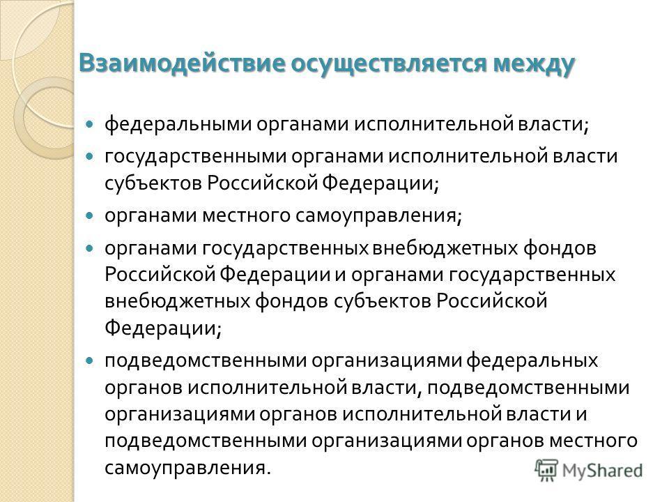 Взаимодействие осуществляется между федеральными органами исполнительной власти ; государственными органами исполнительной власти субъектов Российской Федерации ; органами местного самоуправления ; органами государственных внебюджетных фондов Российс