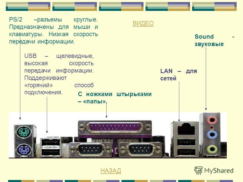 PS/2 –разъемы круглые. Предназначены для мыши и клавиатуры. Низкая скорость передачи информации. USB – щелевидные, высокая скорость передачи информации. Поддерживают «горячий» способ подключения. С ножками штырьками – «папы». LAN – для сетей Sound -