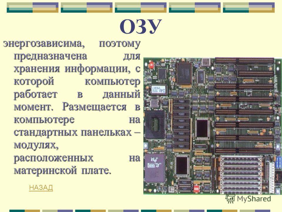 ОЗУ энергозависима, поэтому предназначена для хранения информации, с которой компьютер работает в данный момент. Размещается в компьютере на стандартных панельках – модулях, расположенных на материнской плате. НАЗАД