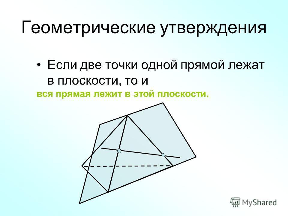 Геометрические утверждения Если две точки одной прямой лежат в плоскости, то и вся прямая лежит в этой плоскости.