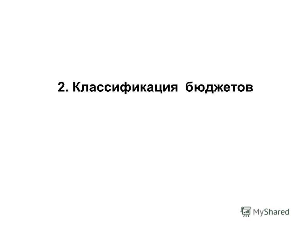 2. Классификация бюджетов