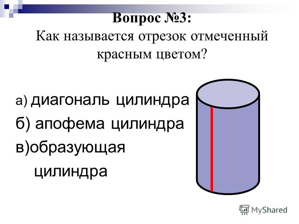 Вопрос 3: Как называется отрезок отмеченный красным цветом? а) диагональ цилиндра б) апофема цилиндра в)образующая цилиндра