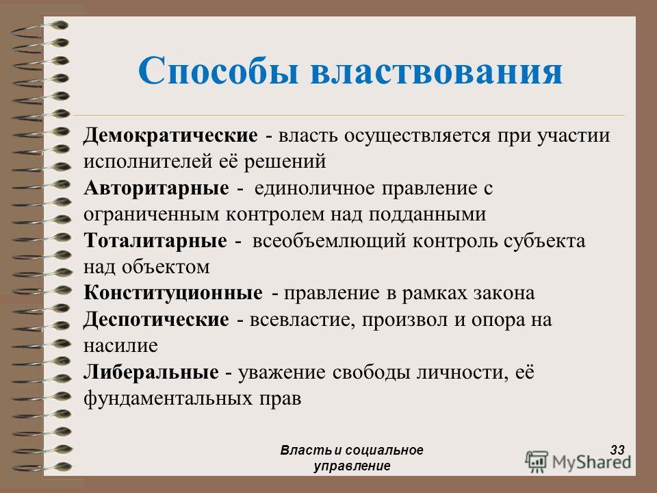 Способы властвования Демократические - власть осуществляется при участии исполнителей её решений Авторитарные - единоличное правление с ограниченным контролем над подданными Тоталитарные - всеобъемлющий контроль субъекта над объектом Конституционные