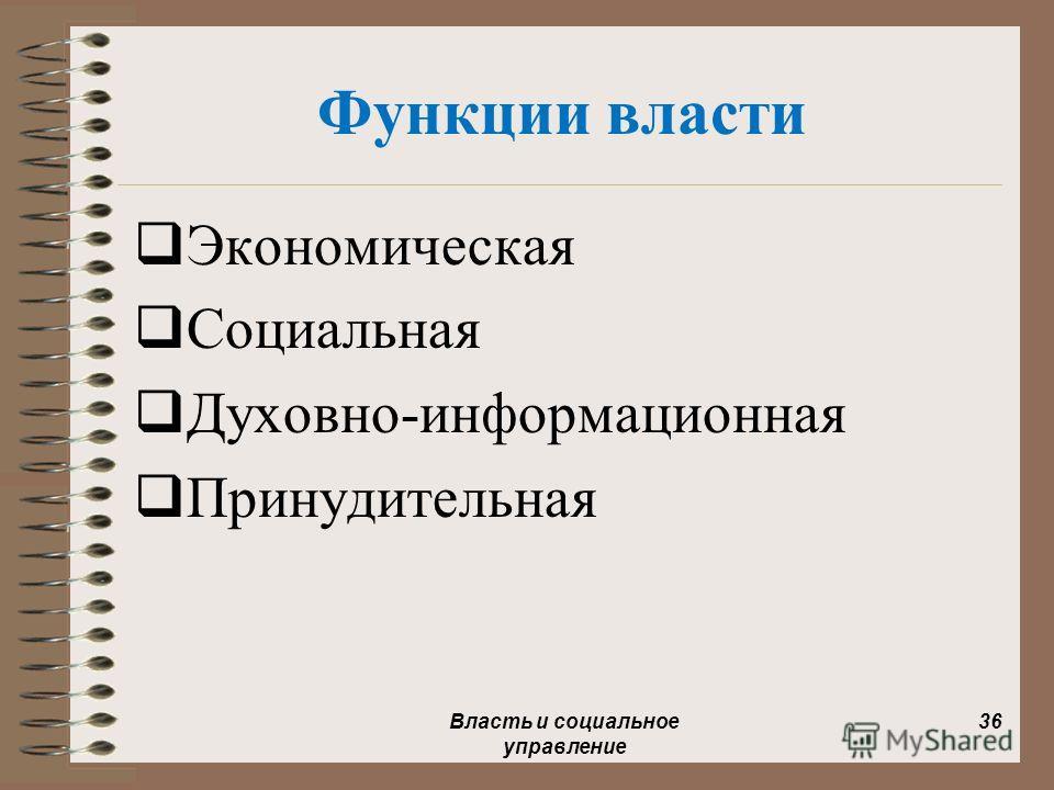 Функции власти Экономическая Социальная Духовно-информационная Принудительная Власть и социальное управление 36