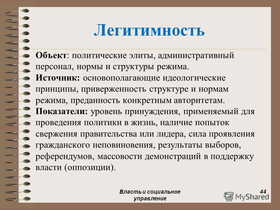 Легитимность Объект: политические элиты, административный персонал, нормы и структуры режима. Источник: основополагающие идеологические принципы, приверженность структуре и нормам режима, преданность конкретным авторитетам. Показатели: уровень принуж