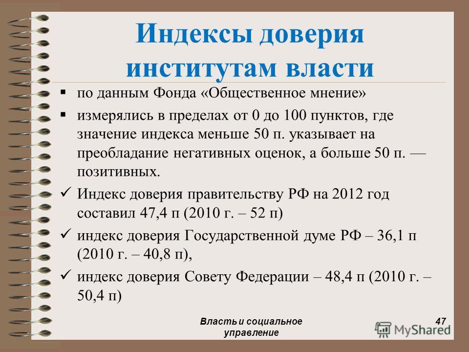 Индексы доверия институтам власти по данным Фонда «Общественное мнение» измерялись в пределах от 0 до 100 пунктов, где значение индекса меньше 50 п. указывает на преобладание негативных оценок, а больше 50 п. позитивных. Индекс доверия правительству