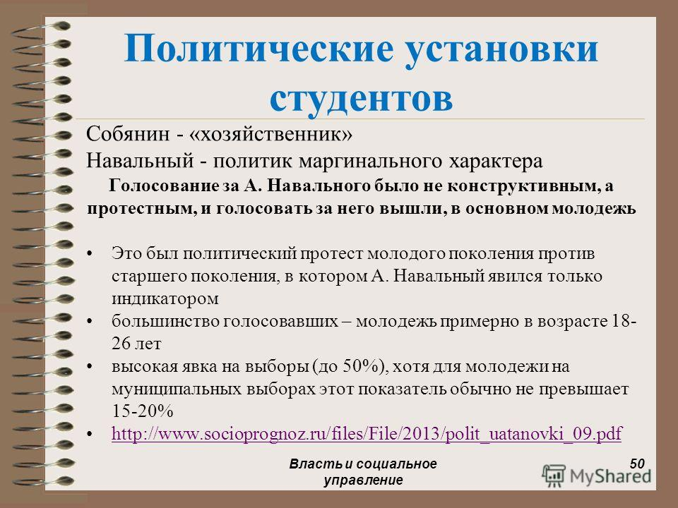 Политические установки студентов Собянин - «хозяйственник» Навальный - политик маргинального характера Голосование за А. Навального было не конструктивным, а протестным, и голосовать за него вышли, в основном молодежь Это был политический протест мол