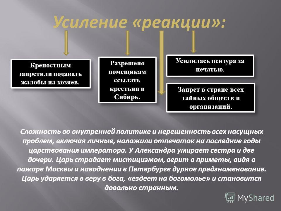 Усиление «реакции»: Разрешено помещикам ссылать крестьян в Сибирь. Крепостным запретили подавать жалобы на хозяев. Усилилась цензура за печатью. Запрет в стране всех тайных обществ и организаций. Сложность во внутренней политике и нерешенность всех н