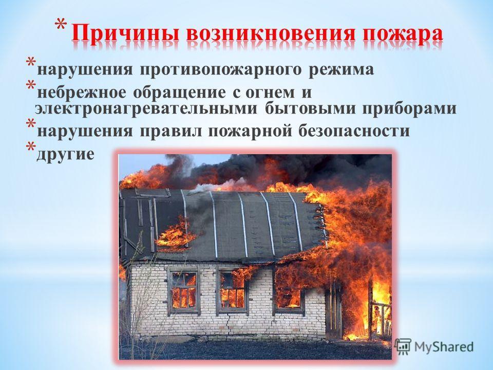 * нарушения противопожарного режима * небрежное обращение с огнем и электронагревательными бытовыми приборами * нарушения правил пожарной безопасности * другие