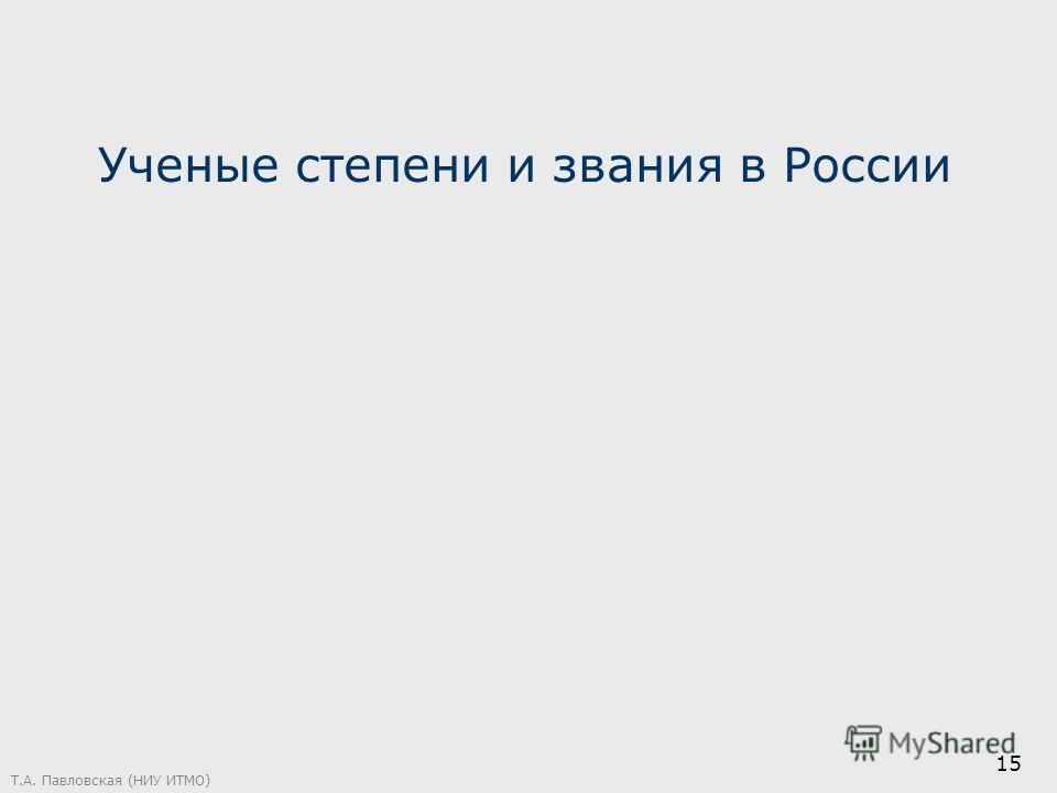 Ученые степени и звания в России Т.А. Павловская (НИУ ИТМО) 15