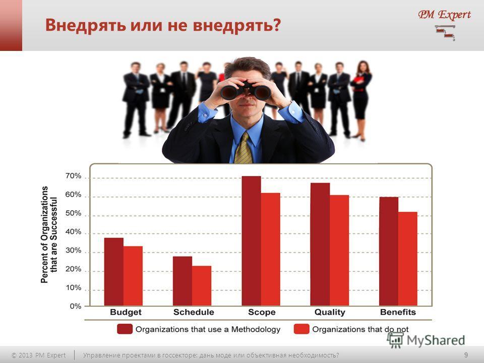 9 © 2013 PM Expert Управление проектами в госсекторе: дань моде или объективная необходимость? Внедрять или не внедрять?