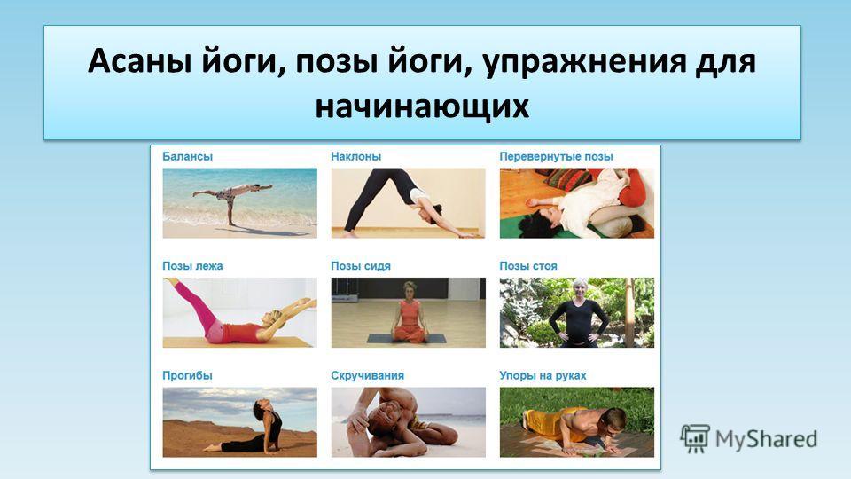 Асаны йоги, позы йоги, упражнения для начинающих