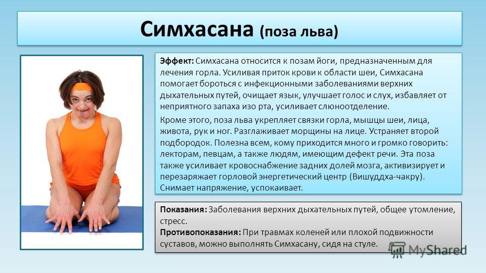 Эффект: Симхасана относится к позам йоги, предназначенным для лечения горла. Усиливая приток крови к области шеи, Симхасана помогает бороться с инфекционными заболеваниями верхних дыхательных путей, очищает язык, улучшает голос и слух, избавляет от н