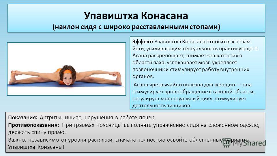 Эффект: Упавиштха Конасана относится к позам йоги, усиливающим сексуальность практикующего. Асана раскрепощает, снимает «зажатости» в области паха, успокаивает мозг, укрепляет позвоночник и стимулирует работу внутренних органов. Асана чрезвычайно пол