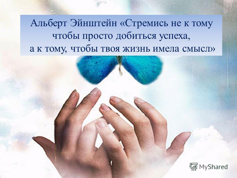 Альберт Эйнштейн «Стремись не к тому чтобы просто добиться успеха, а к тому, чтобы твоя жизнь имела смысл»