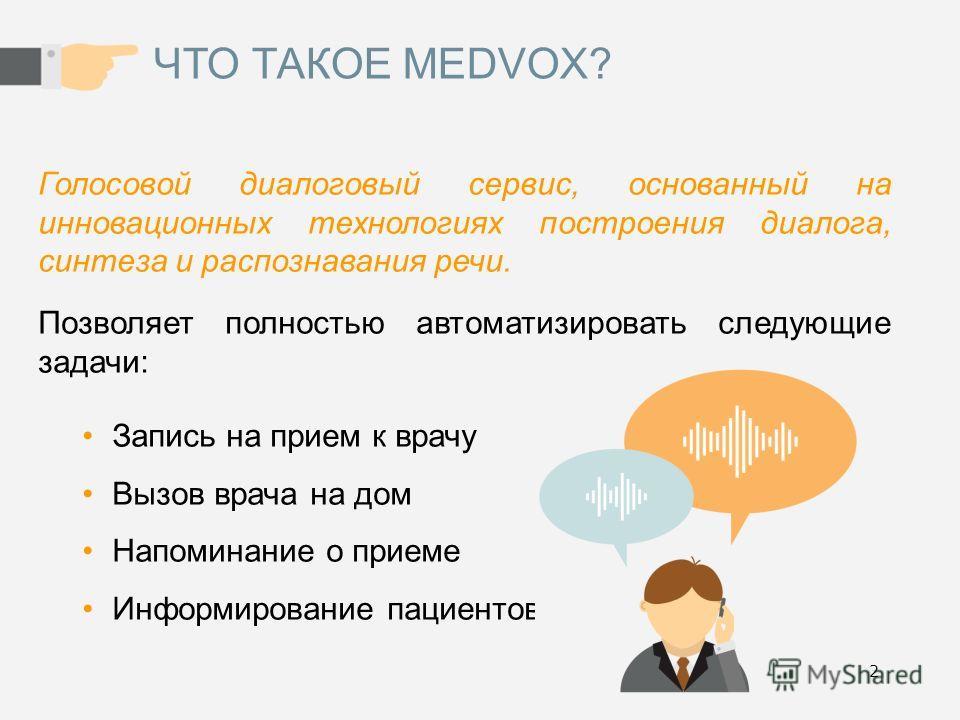 2 ЧТО ТАКОЕ MEDVOX? Голосовой диалоговый сервис, основанный на инновационных технологиях построения диалога, синтеза и распознавания речи. Позволяет полностью автоматизировать следующие задачи: Запись на прием к врачу Вызов врача на дом Напоминание о