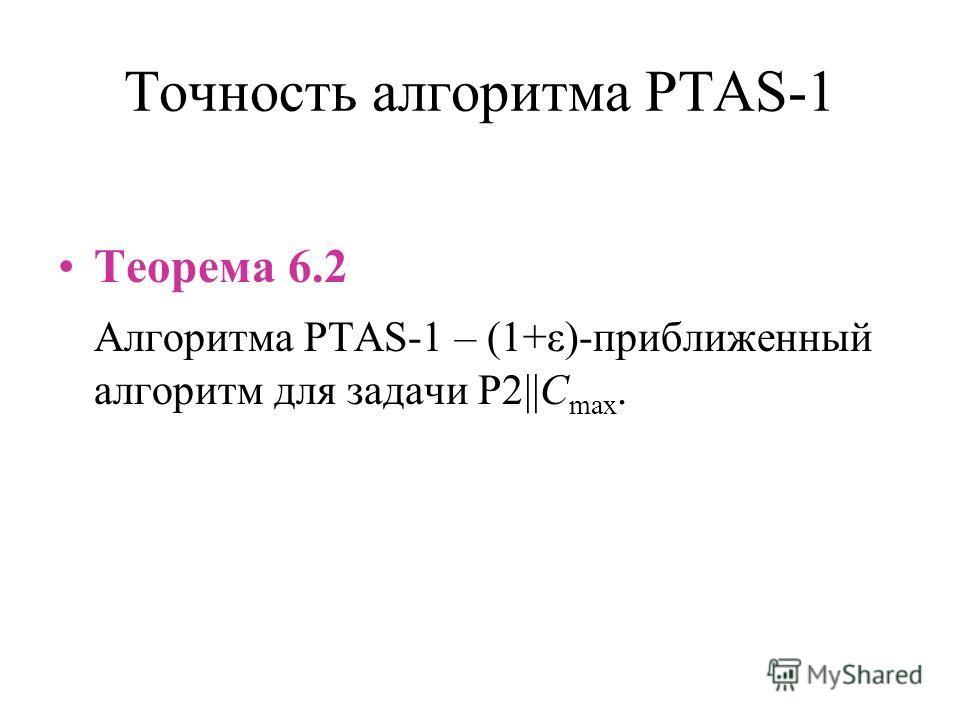 Точность алгоритма PTAS-1 Теорема 6.2 Алгоритма PTAS-1 – (1+ε)-приближенный алгоритм для задачи P2||C max.