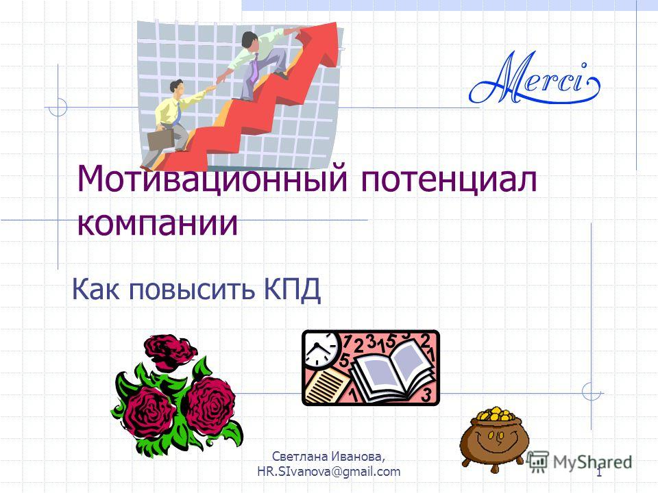 Светлана Иванова, HR.SIvanova@gmail.com1 Мотивационный потенциал компании Как повысить КПД