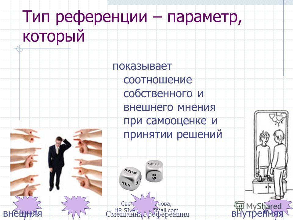 Светлана Иванова, HR.SIvanova@gmail.com15 Тип референции – параметр, который Смешанная референция внешняявнутренняя показывает соотношение собственного и внешнего мнения при самооценке и принятии решений