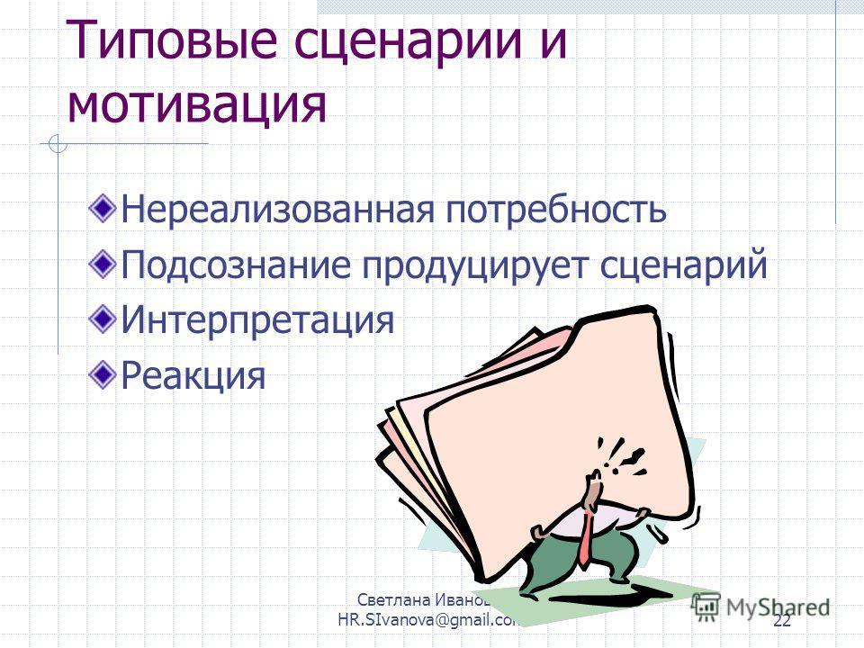 Светлана Иванова, HR.SIvanova@gmail.com22 Типовые сценарии и мотивация Нереализованная потребность Подсознание продуцирует сценарий Интерпретация Реакция