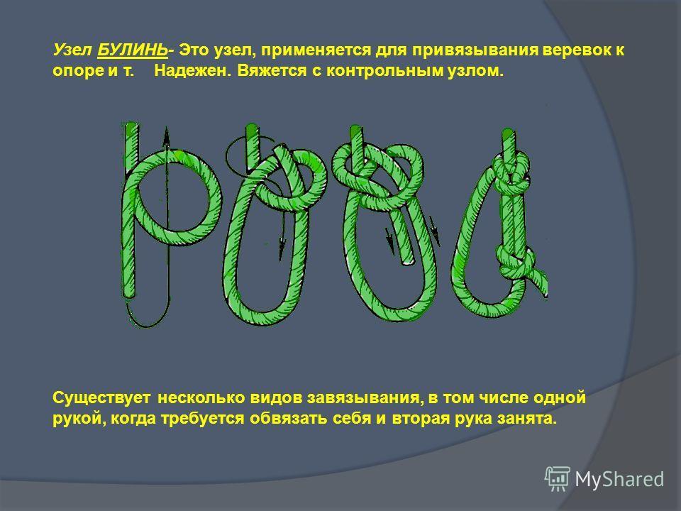 Узел БУЛИНЬ- Это узел, применяется для привязывания веревок к опоре и т. Надежен. Вяжется с контрольным узлом. Существует несколько видов завязывания, в том числе одной рукой, когда требуется обвязать себя и вторая рука занята.