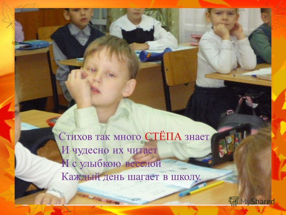 Стихов так много СТЁПА знает И чудесно их читает И с улыбкою веселой Каждый день шагает в школу.