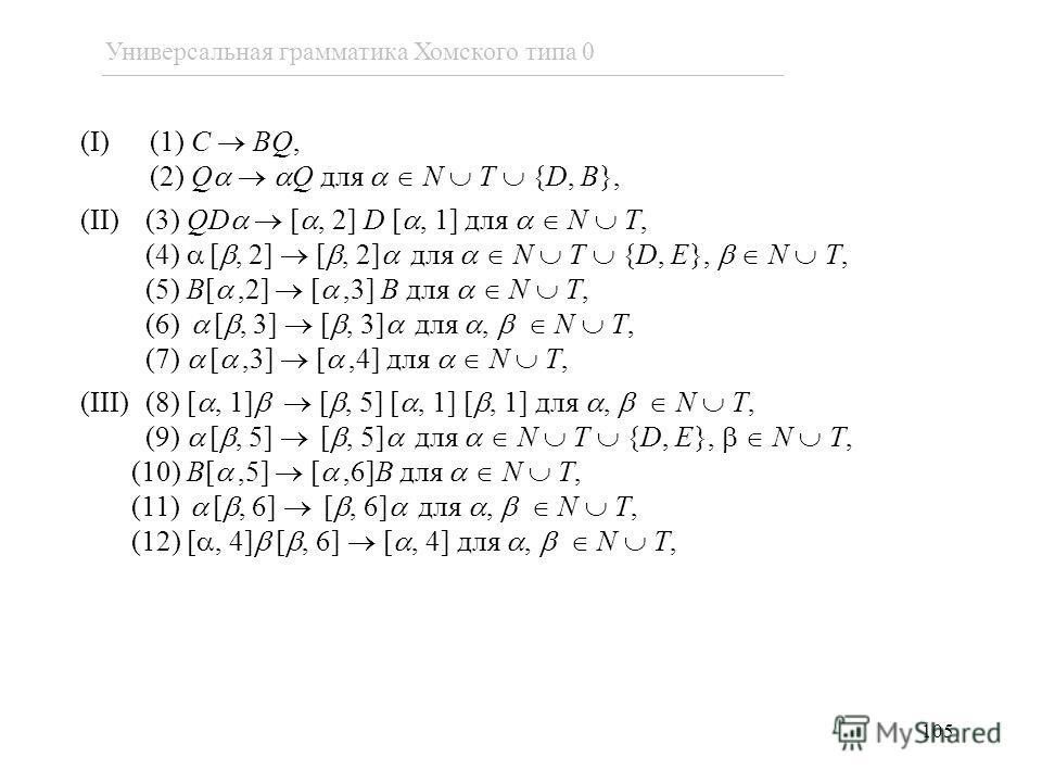 (I) (1) C BQ, (2) Q Q для N T {D, B}, (II)(3) QD [, 2] D [, 1] для N T, (4) [, 2] [, 2] для N T {D, E}, N T, (5) B[,2] [,3] B для N T, (6) [, 3] [, 3] для, N T, (7) [,3] [,4] для N T, (III)(8) [, 1] [, 5] [, 1] [, 1] для, N T, (9) [, 5] [, 5] для N T