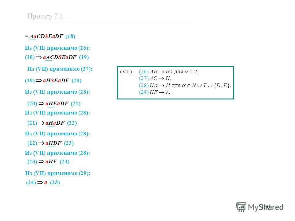 120 (VII) (26) A A для T, (27) AC H, (28) H H для N T {D, E}, (29) HF λ. = AaCDSEaDF (18) Из (VII) применимо (26): (18) aACDSEaDF (19) Из (VII) применимо (27): (19) aHSEaDF (20) Из (VII) применимо (28): (20) aHEaDF (21) Из (VII) применимо (28): (21)