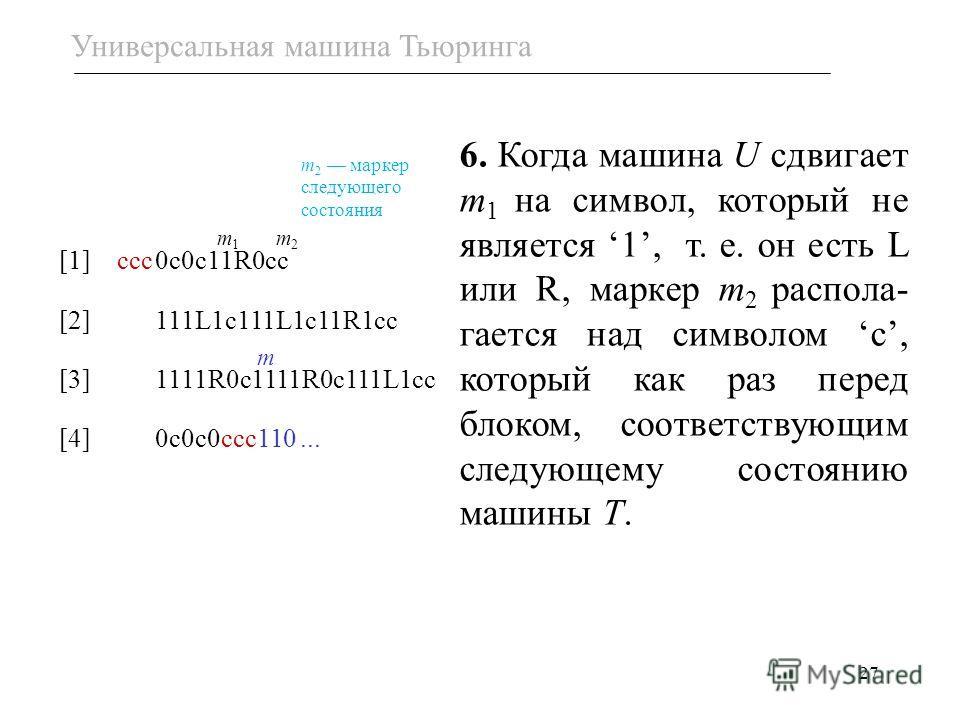 27 [1] ссс0с0с11R0сс [2]111L1c111L1c11R1cc [3]1111R0c1111R0c111L1cc [4]0с0с0ссc110... m m1m1 6. Когда машина U сдвигает m 1 на символ, который не является 1, т. е. он есть L или R, маркер m 2 распола- гается над символом с, который как раз перед блок