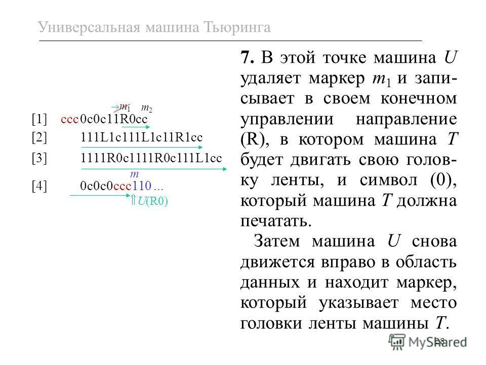 28 m 1 [1] ссс0с0с11R0сс [2]111L1c111L1c11R1cc [3]1111R0c1111R0c111L1cc [4]0с0с0ссc110... m2m2 U(R0) m 7. В этой точке машина U удаляет маркер m 1 и запи- сывает в своем конечном управлении направление (R), в котором машина T будет двигать свою голов