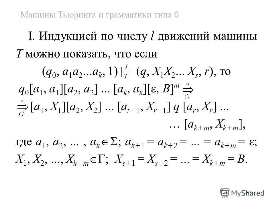 85 Машины Тьюринга и грамматики типа 0 I. Индукцией по числу l движений машины T можно показать, что если (q 0, a 1 a 2...a k, 1) (q, X 1 X 2... X s, r), то q 0 [a 1, a 1 ][a 2, a 2 ]... [a k, a k ][, B] m [a 1, X 1 ][a 2, X 2 ]... [a r–1, X r–1 ] q