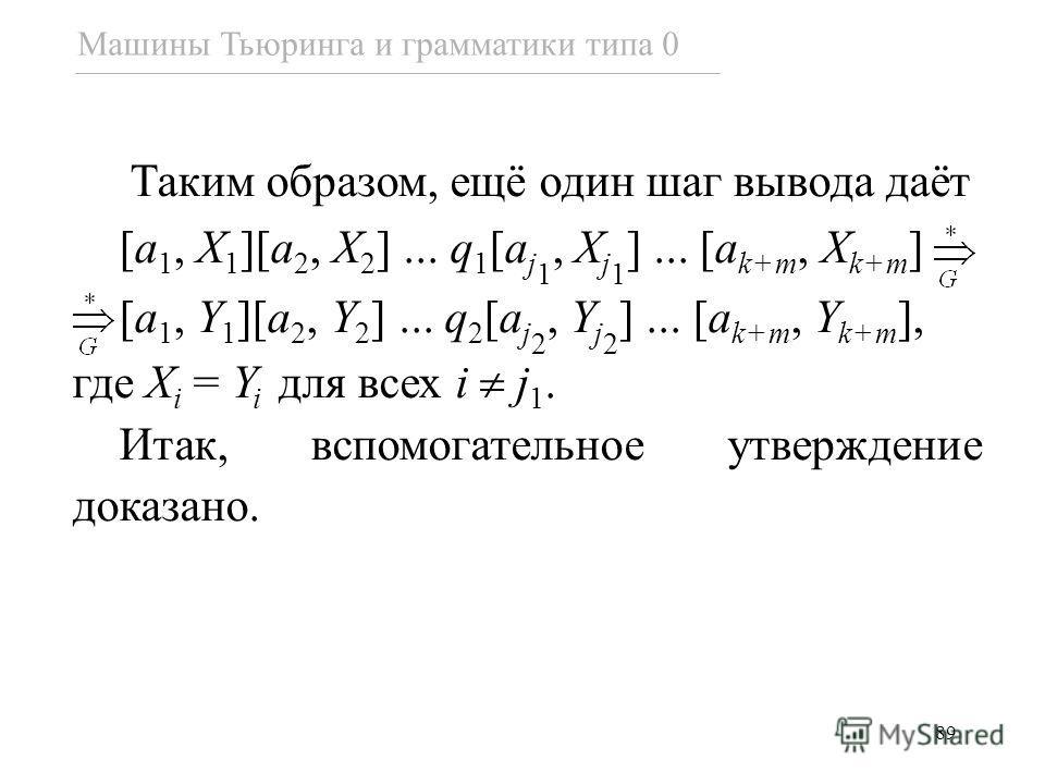 89 Машины Тьюринга и грамматики типа 0 Таким образом, ещё один шаг вывода даёт [a 1, X 1 ][a 2, X 2 ]... q 1 [a j 1, X j 1 ]... [a k+m, X k+m ] [a 1, Y 1 ][a 2, Y 2 ]... q 2 [a j 2, Y j 2 ]... [a k+m, Y k+m ], где X i = Y i для всех i j 1. Итак, вспо
