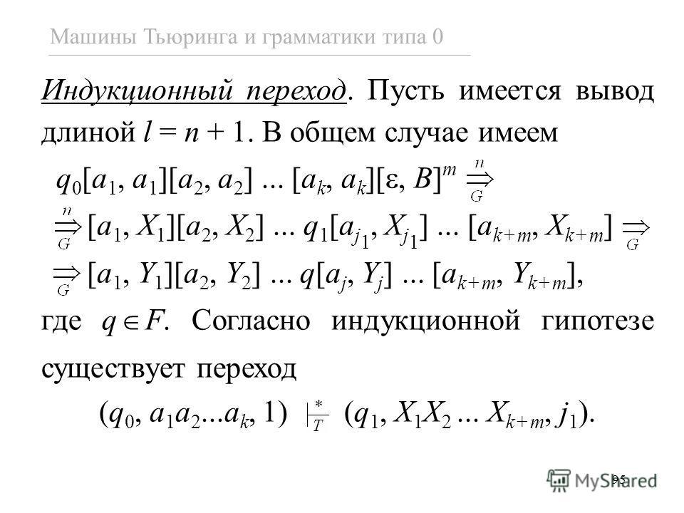 95 Машины Тьюринга и грамматики типа 0 Индукционный переход. Пусть имеется вывод длиной l = n + 1. В общем случае имеем q 0 [a 1, a 1 ][a 2, a 2 ]... [a k, a k ][, B] m [a 1, X 1 ][a 2, X 2 ]... q 1 [a j 1, X j 1 ]... [a k+m, X k+m ] [a 1, Y 1 ][a 2,