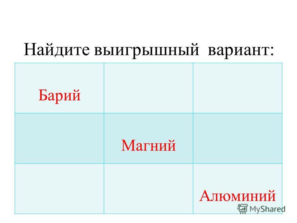 Барий Магний Алюминий Найдите выигрышный вариант: