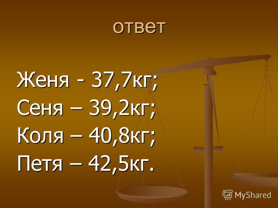 ответ Женя - 37,7кг; Сеня – 39,2кг; Коля – 40,8кг; Петя – 42,5кг.