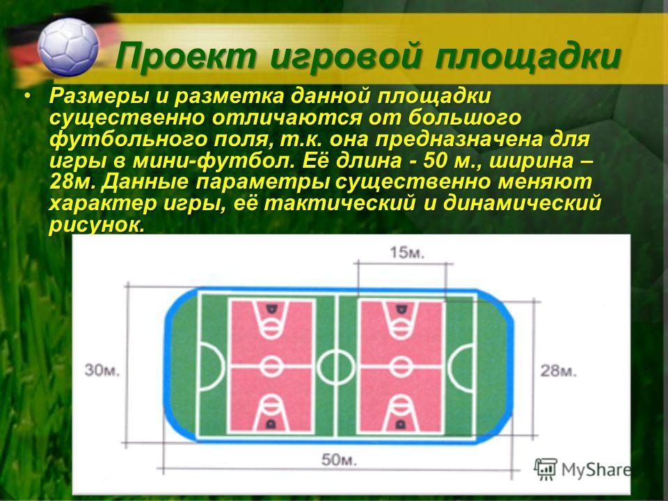 Проект игровой площадки Размеры и разметка данной площадки существенно отличаются от большого футбольного поля, т.к. она предназначена для игры в мини-футбол. Её длина - 50 м., ширина – 28м. Данные параметры существенно меняют характер игры, её такти