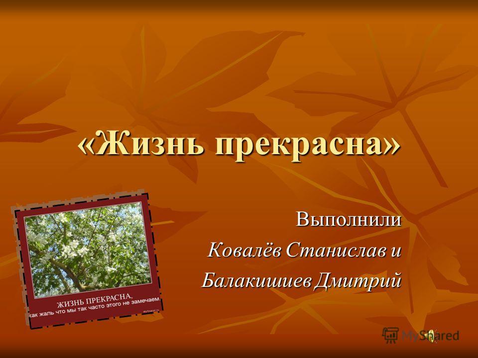 «Жизнь прекрасна» Выполнили Ковалёв Станислав и Балакишиев Дмитрий