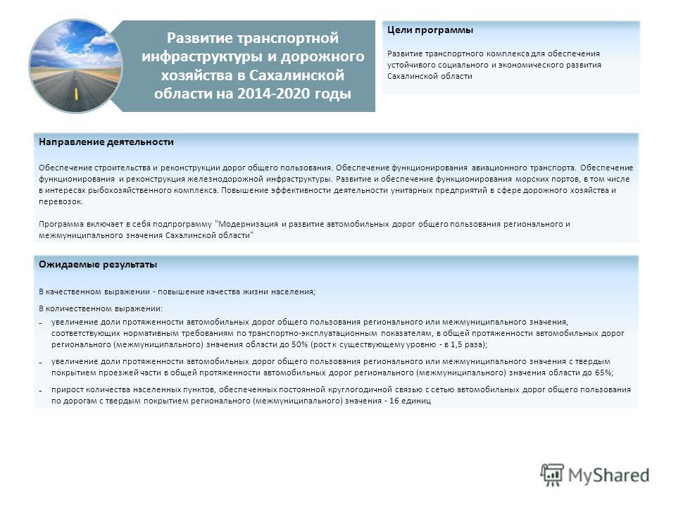 Развитие транспортной инфраструктуры и дорожного хозяйства в Сахалинской области на 2014-2020 годы Цели программы Развитие транспортного комплекса для обеспечения устойчивого социального и экономического развития Сахалинской области Направление деяте