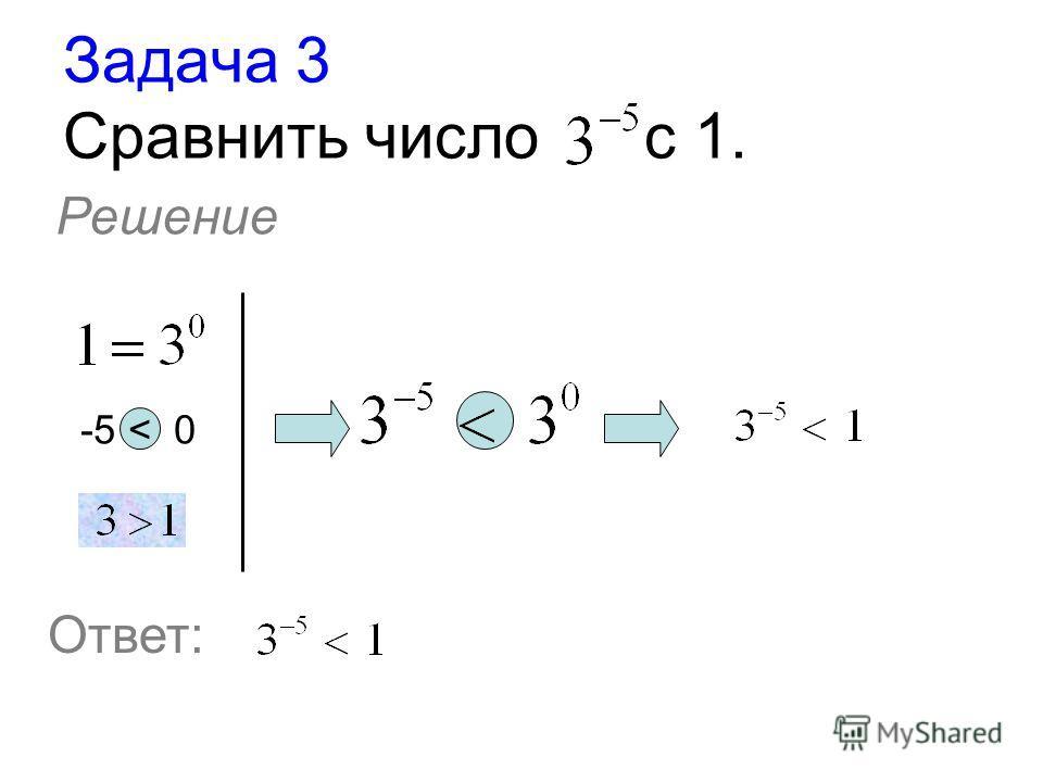 Задача 3 Сравнить число с 1. Решение -5 < 0 Ответ:
