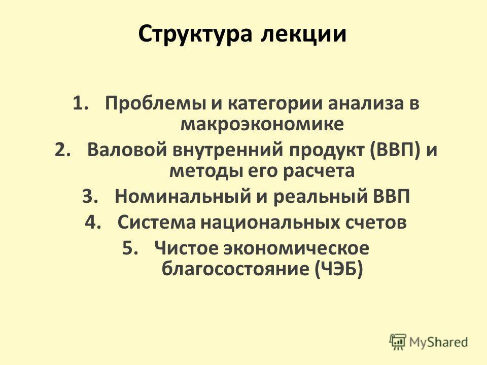 Структура лекции 1.Проблемы и категории анализа в макроэкономике 2.Валовой внутренний продукт (ВВП) и методы его расчета 3.Номинальный и реальный ВВП 4.Система национальных счетов 5.Чистое экономическое благосостояние (ЧЭБ)
