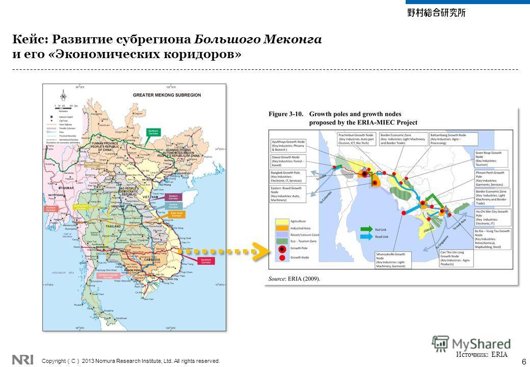 Copyright C 2013 Nomura Research Institute, Ltd. All rights reserved. Кейс: Развитие субрегиона Большого Меконга и его «Экономических коридоров» 6 Источник: ERIA
