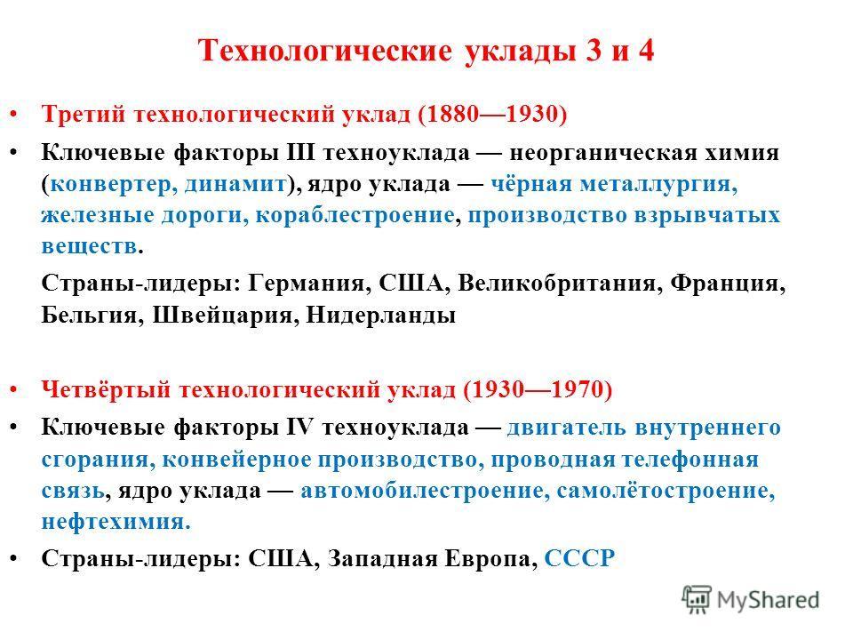 Технологические уклады 3 и 4 Третий технологический уклад (18801930) Ключевые факторы III техноуклада неорганическая химия (конвертер, динамит), ядро уклада чёрная металлургия, железные дороги, кораблестроение, производство взрывчатых веществ. Страны