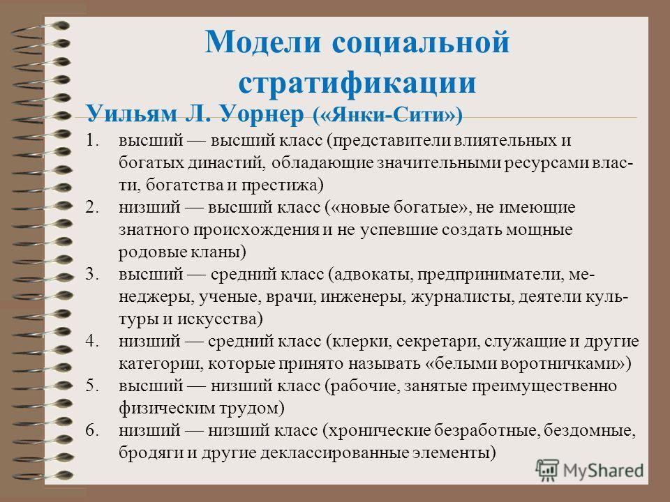 Модели социальной стратификации Уильям Л. Уорнер («Янки-Сити») 1.высший высший класс (представители влиятельных и богатых династий, обладающие значительными ресурсами влас ти, богатства и престижа) 2.низший высший класс («новые богатые», не имеющие