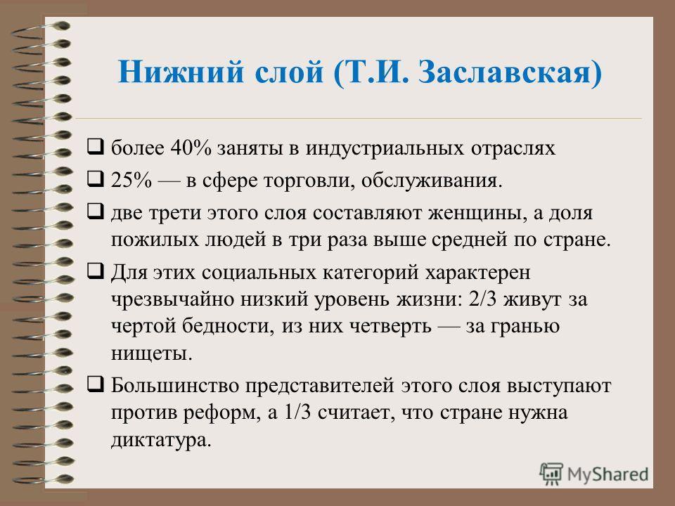 Нижний слой (Т.И. Заславская) более 40% заняты в индустриальных отраслях 25% в сфере торговли, обслуживания. две трети этого слоя составляют женщины, а доля пожилых людей в три раза выше средней по стране. Для этих социальных категорий характерен ч