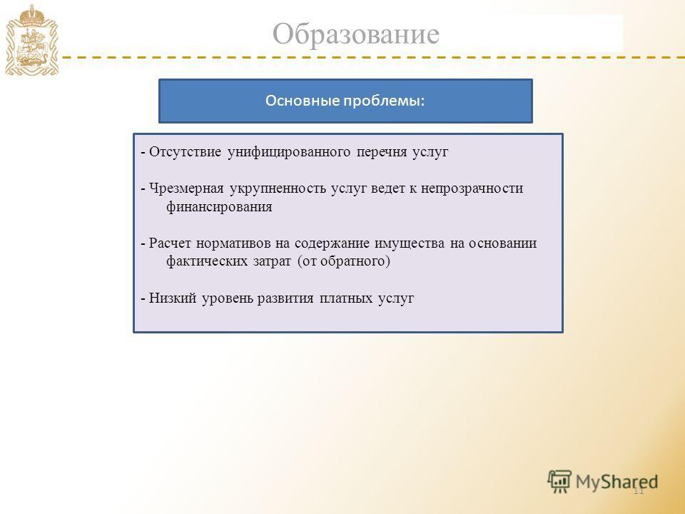 11 Образование - Отсутствие унифицированного перечня услуг - Чрезмерная укрупненность услуг ведет к непрозрачности финансирования - Расчет нормативов на содержание имущества на основании фактических затрат (от обратного) - Низкий уровень развития пла