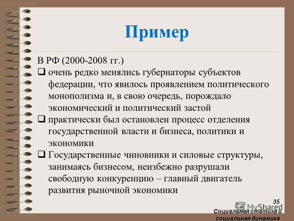 Пример В РФ (2000-2008 гг.) очень редко менялись губернаторы субъектов федерации, что явилось проявлением политического монополизма и, в свою очередь, порождало экономический и политический застой практически был остановлен процесс отделения государс