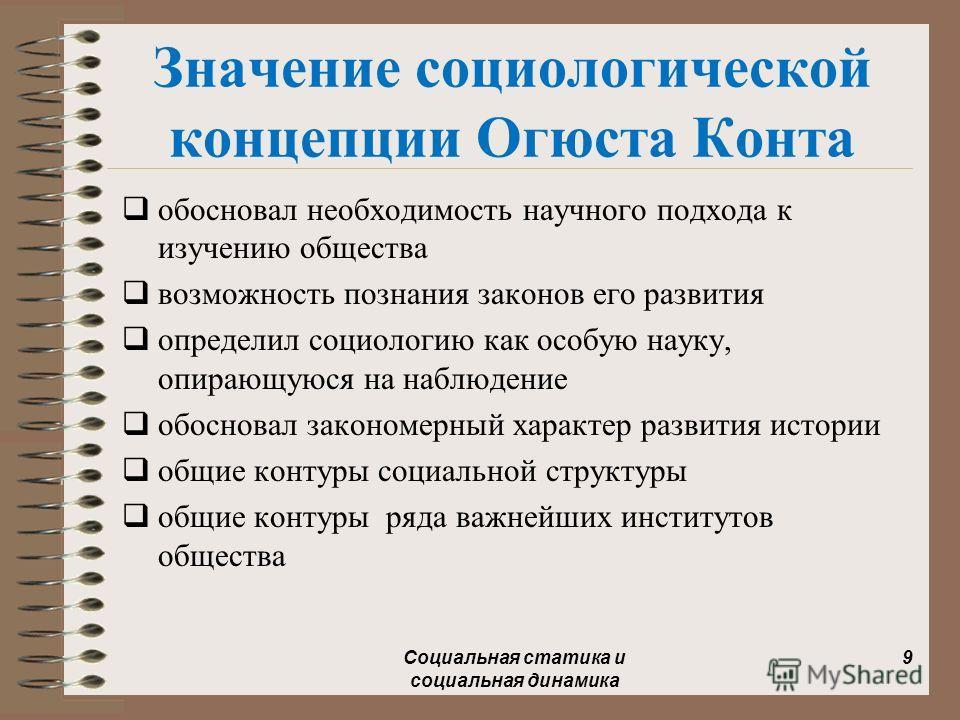 Значение социологической концепции Огюста Конта обосновал необходимость научного подхода к изучению общества возможность познания законов его развития определил социологию как особую науку, опирающуюся на наблюдение обосновал закономерный характер ра